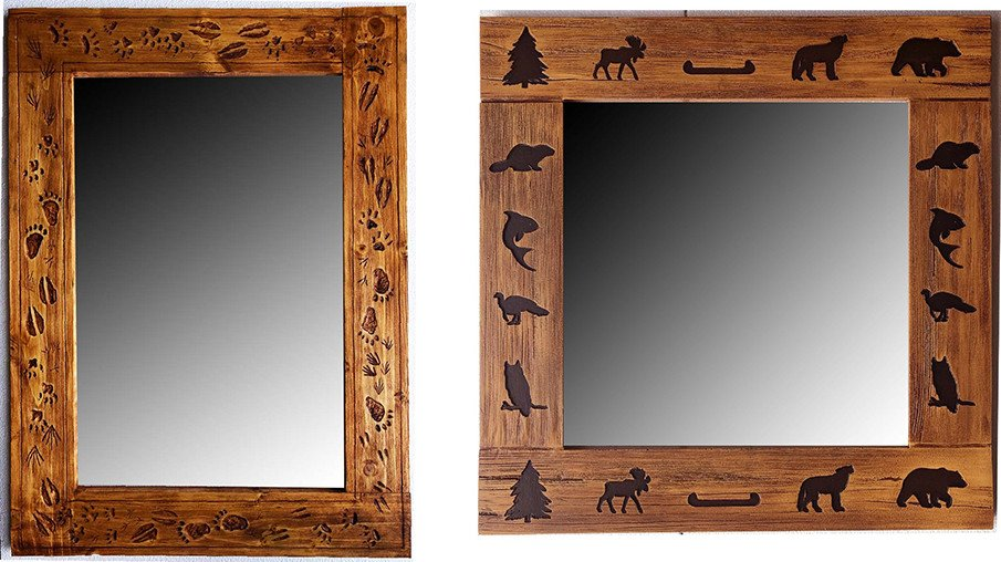 Wooden farmhouse mirrors with artisanal carvings