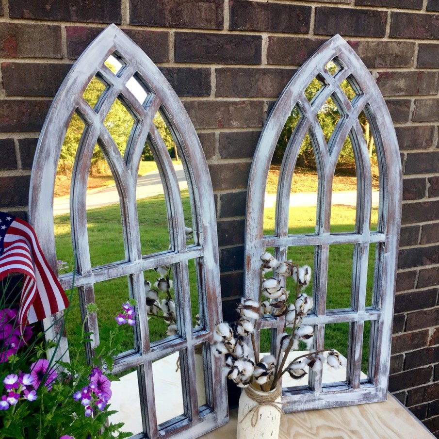 Window arch shaped rustic mirrors