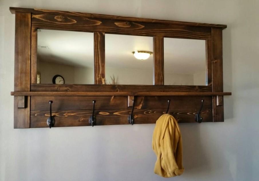 Rustic wooden mirrored coat rack