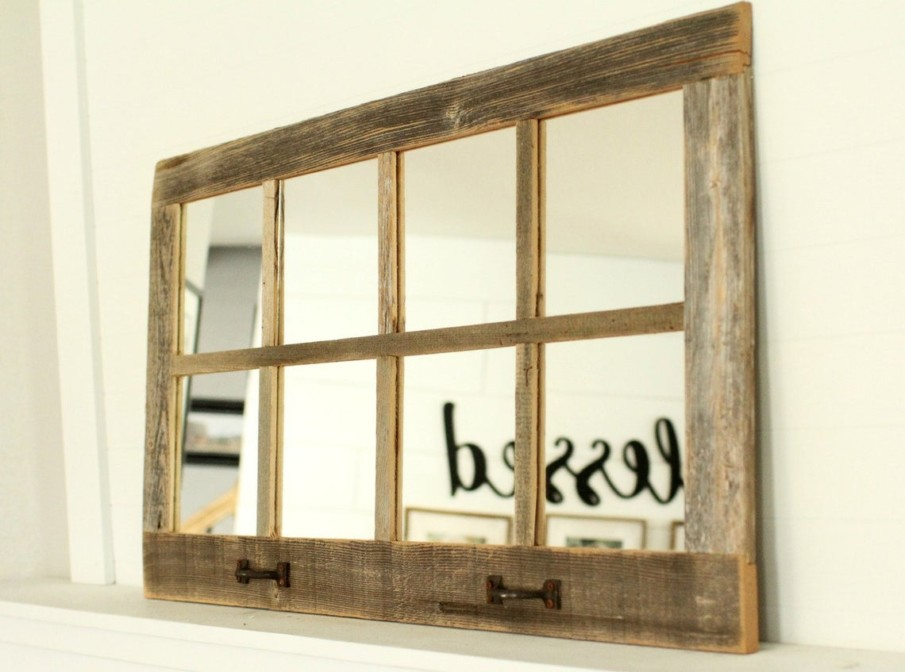 Windowpane design rustic wooden mirror with rusted handles as decor accents