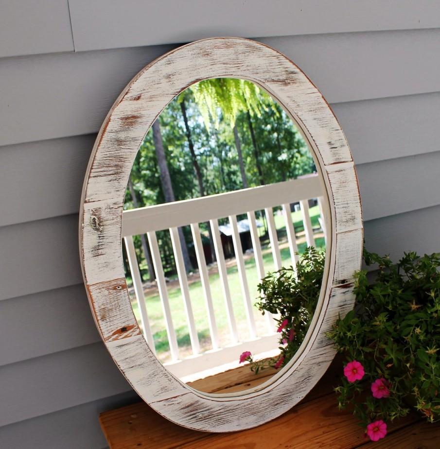 White wash wooden round mirror frame