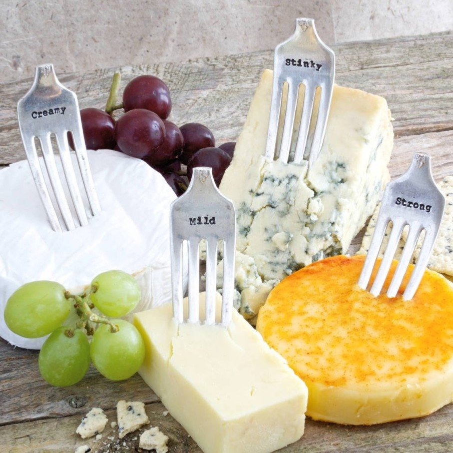 Silver vintage fork cheese markers