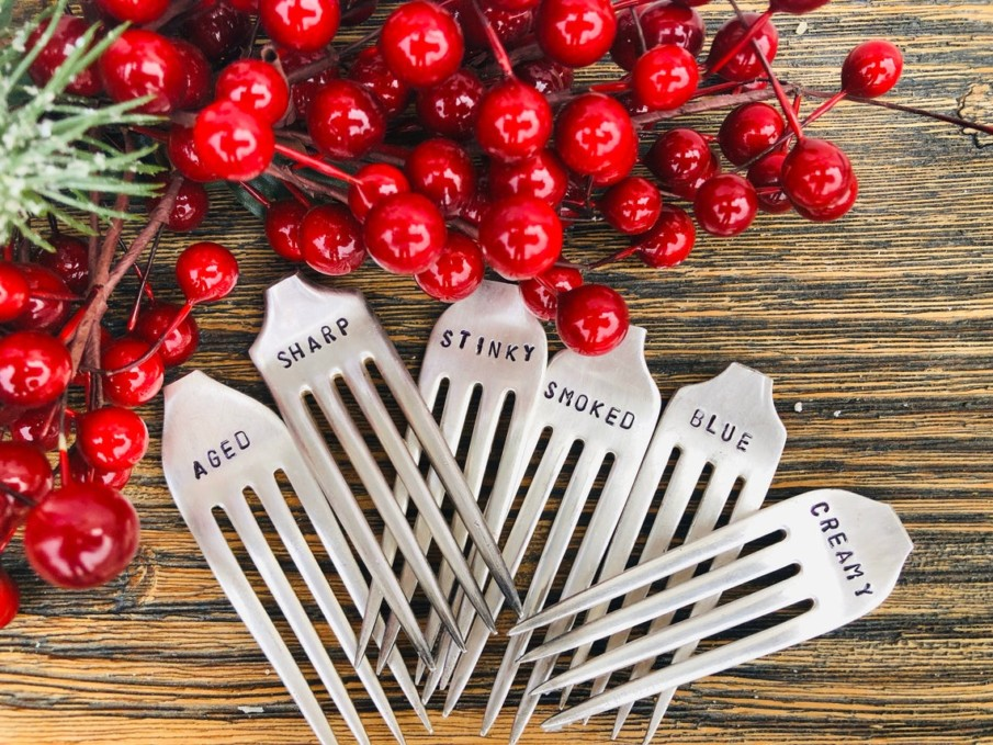 Set of 6 silver-plated vintage fork cheese markers