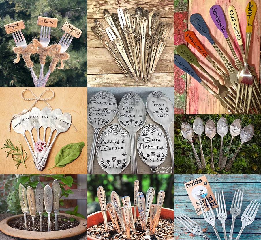 Collage of silverware herb markers
