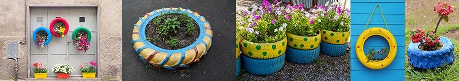 Simple Painted Tire Planters