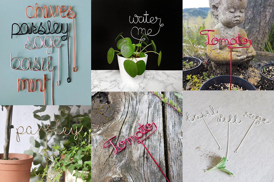 Collage of wire herb markers