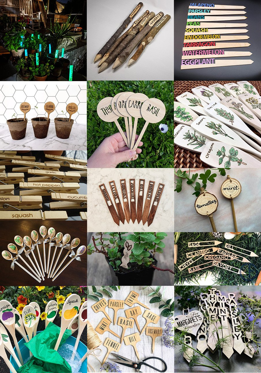 Collage of wood garden markers