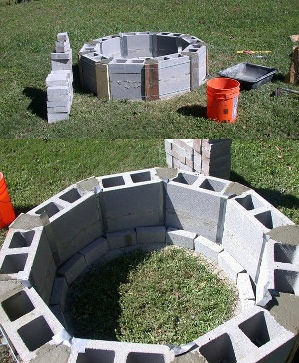 Circular cinder block fire pit
