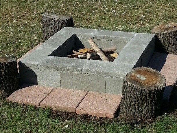 Easy Movable Cinder Block Fire Pit