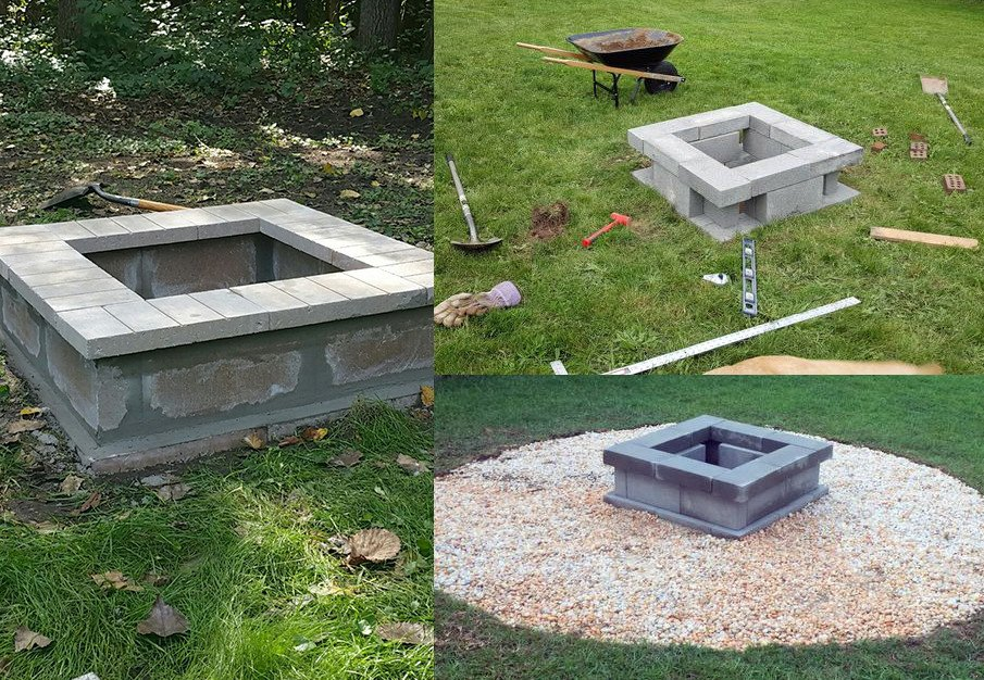 Cinder block fire pits made from $40 plan