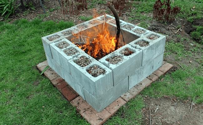 Fire pit Cinder blocks filled with gravel