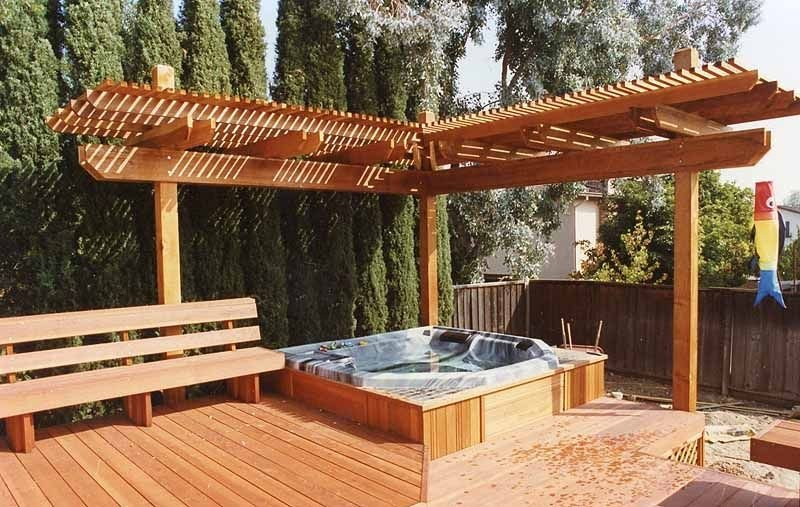 Cedar corner pergola over the hot tub design