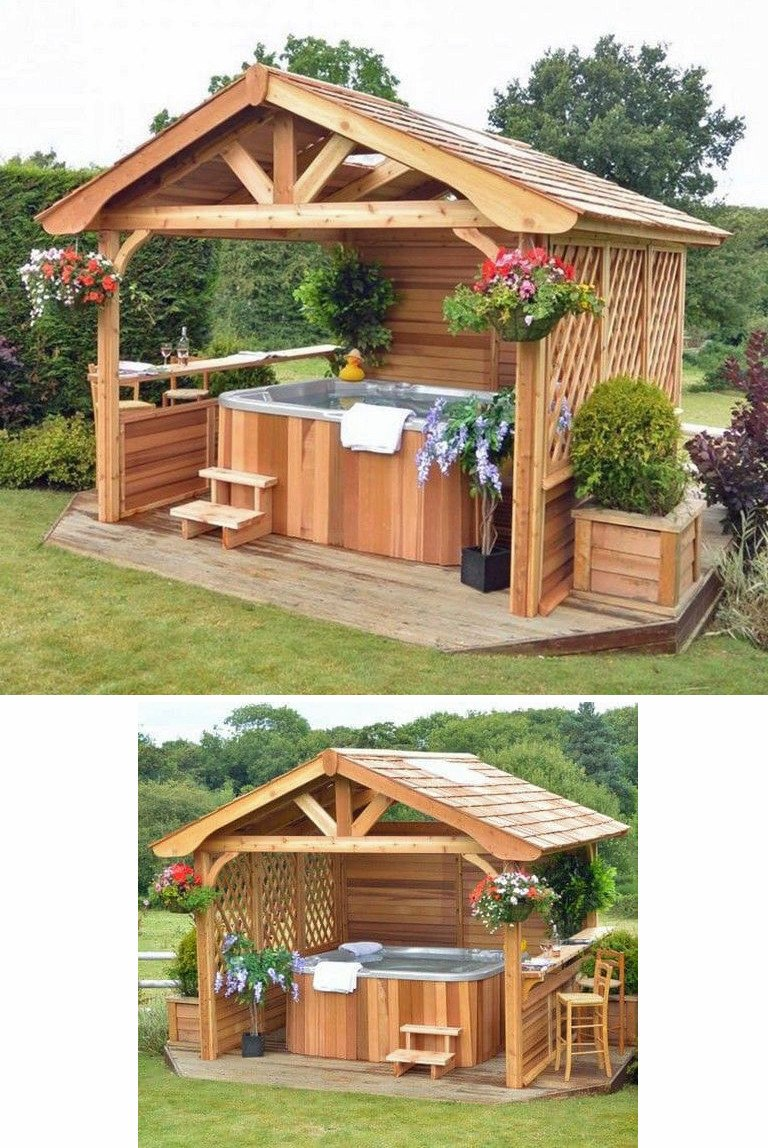 Pergola over hot tub with solid roof, built-in bar and lattice privacy screen