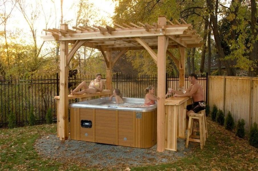 Cedar hot tub pergola ideas with built-in bar and bench