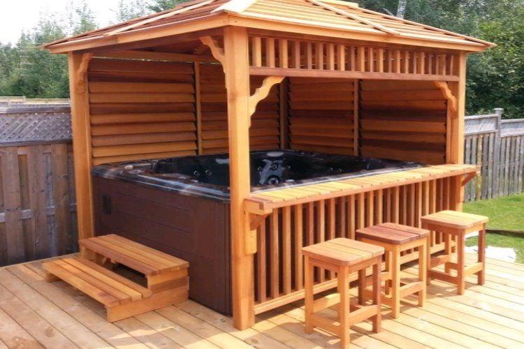 Built-in bar makes this hot tub cedar pergola unique