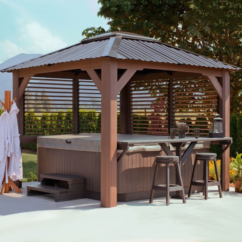 Wood pergola features metal roof and adjustable louvered sides