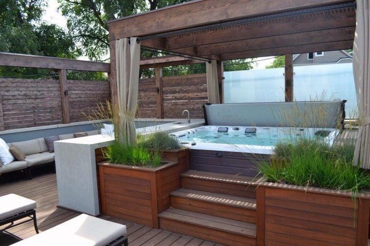 Hot tub pergola with curtains ideas