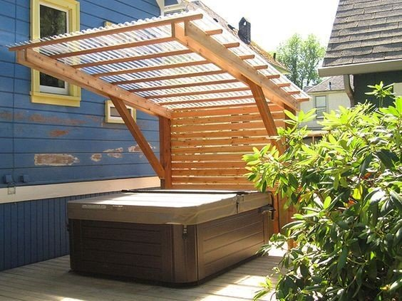Pergola above hot tub with privacy screen ideas
