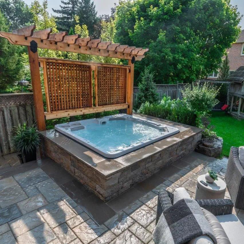 One-sided garden pergola over hot tub idea