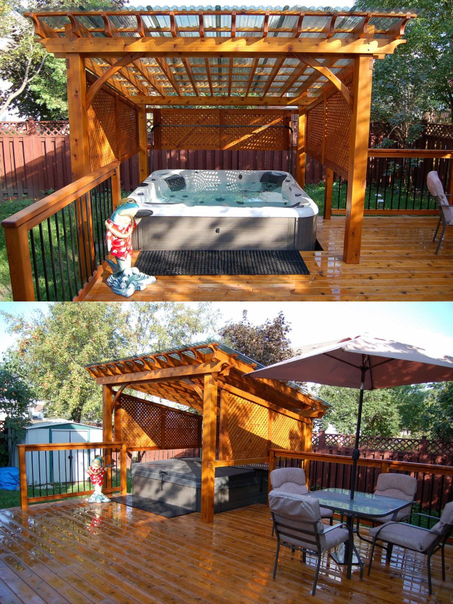 Hot tub pergola roof design with clear panels and privacy lattice enclosure