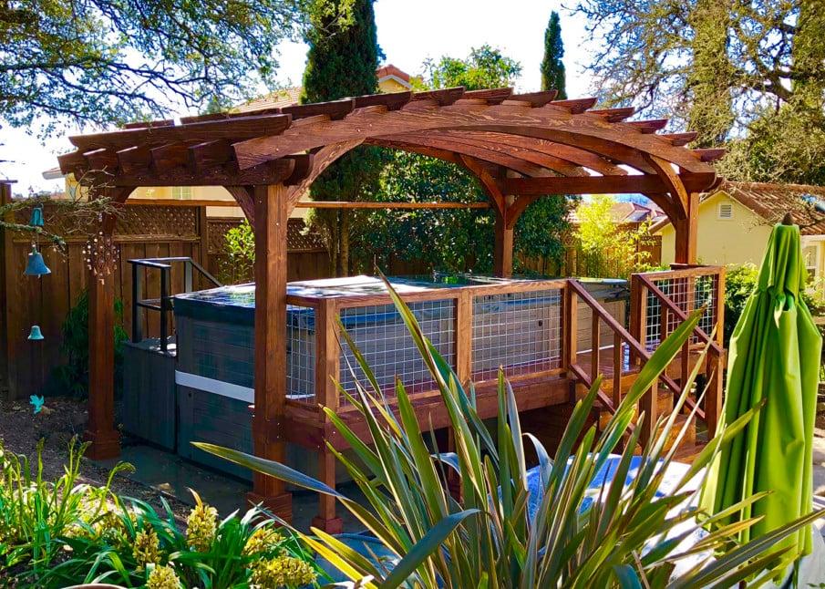 Traditional style hot tub garden pergola ideas