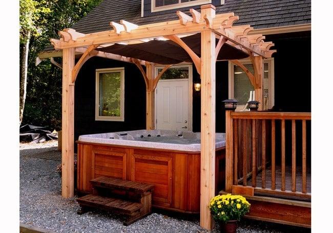 Hot tub pergola with retractable roof idea