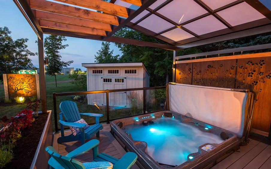 Pergola roof over hot tub ideas