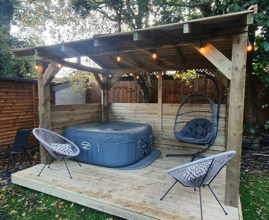 Pergola design with wood floor and sides