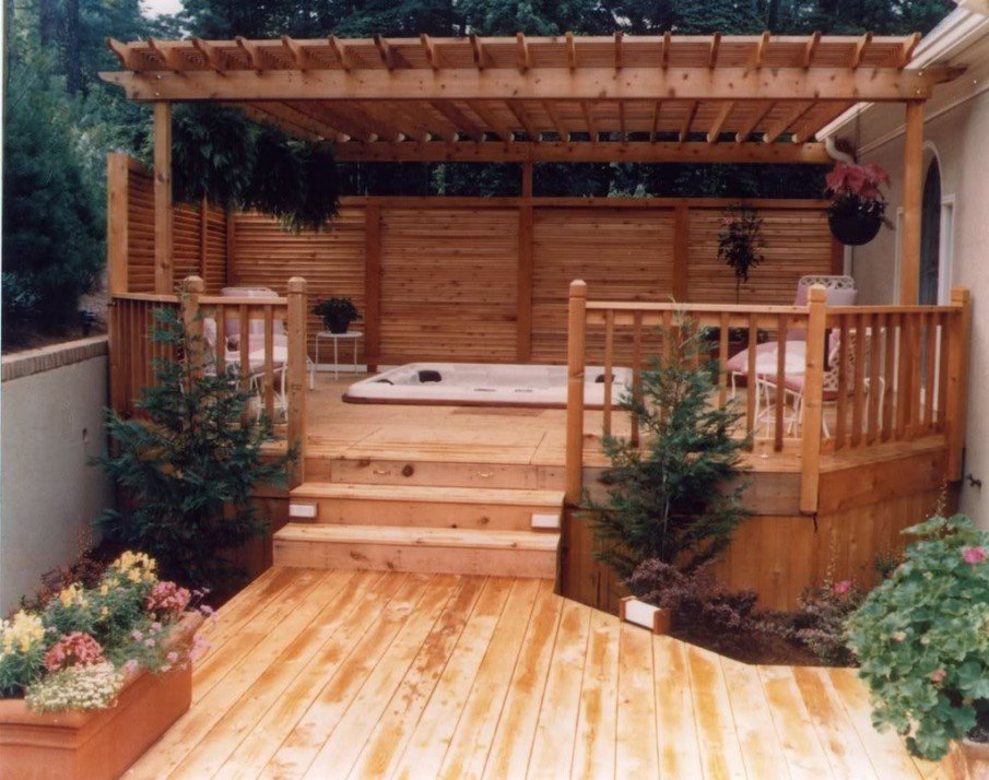 Cedar hot tub pergola ideas with privacy fence and a roof for shade