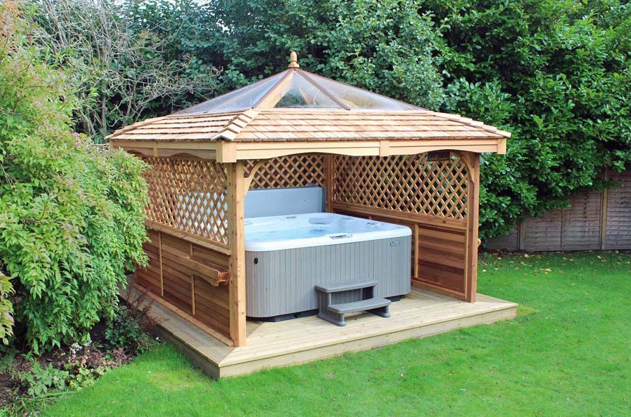 Hot tub garden pergola ideas with clear plastic roof