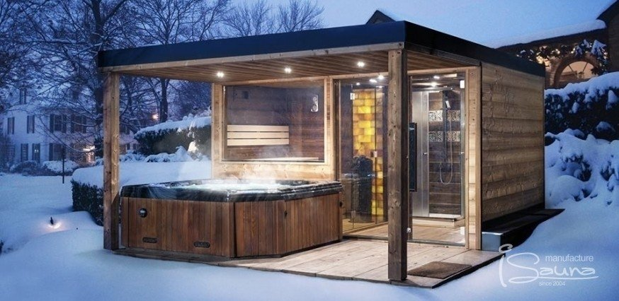 Sauna house with an extended pergola roof over hot tub