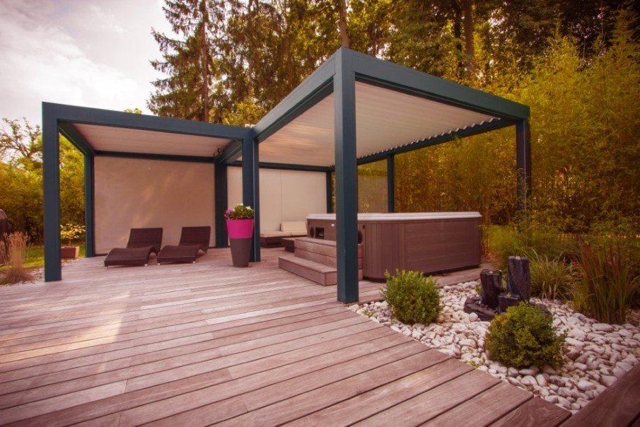 Hot tub pergolas in modern style with canopy roof