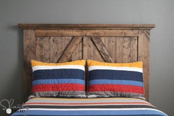 wooden barndoor style headboard