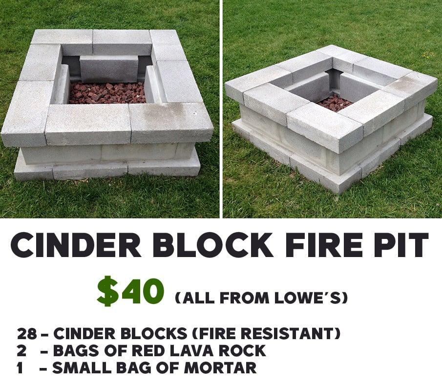 DIY Cinder Block Fire Pit Plan for just $40
