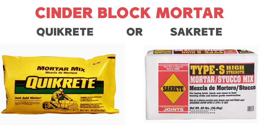Cinder block mortar choices