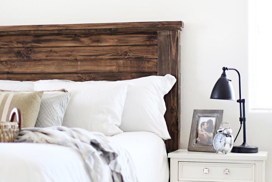 farmhouse diy wood headboard idea