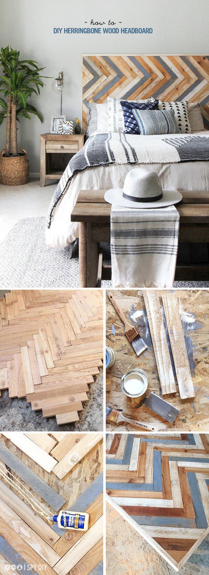multitone wood herringbone headboard diy plan