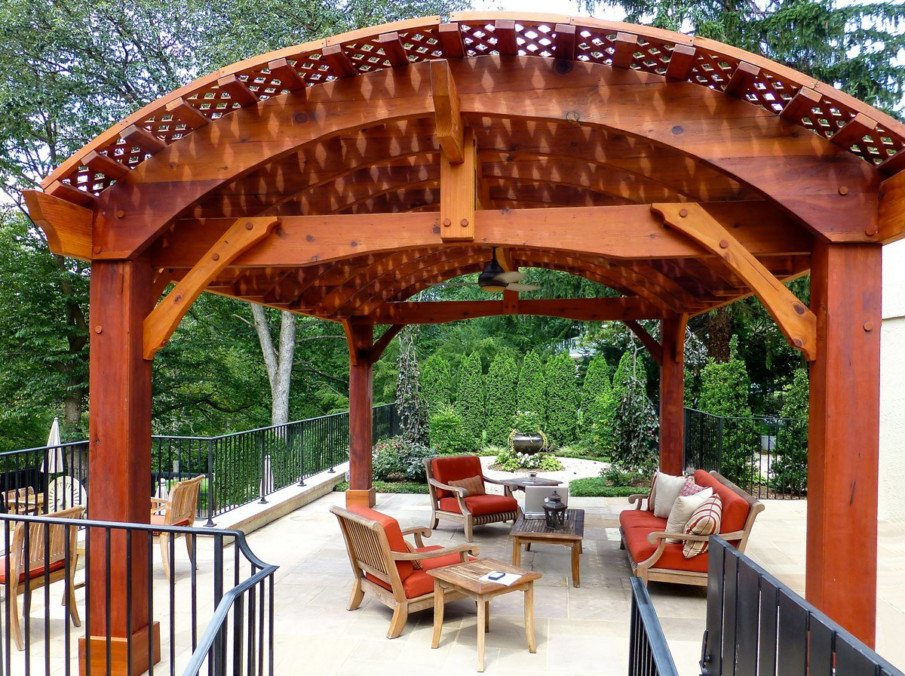 Visually impressive redwood pergola kit with curved roof