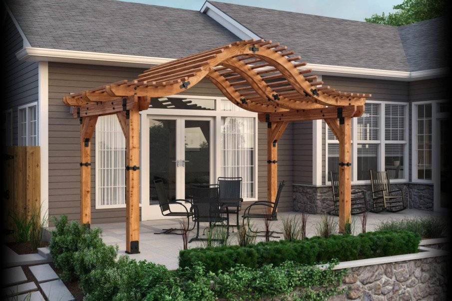 DIY pergola with unique arched roof from a free plan