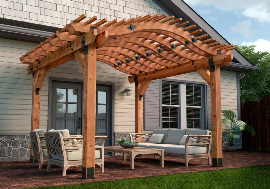 Pergola design idea with curved rafters