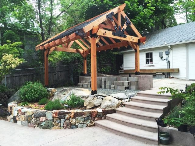 Pergola with gable roof design ideas for a patio