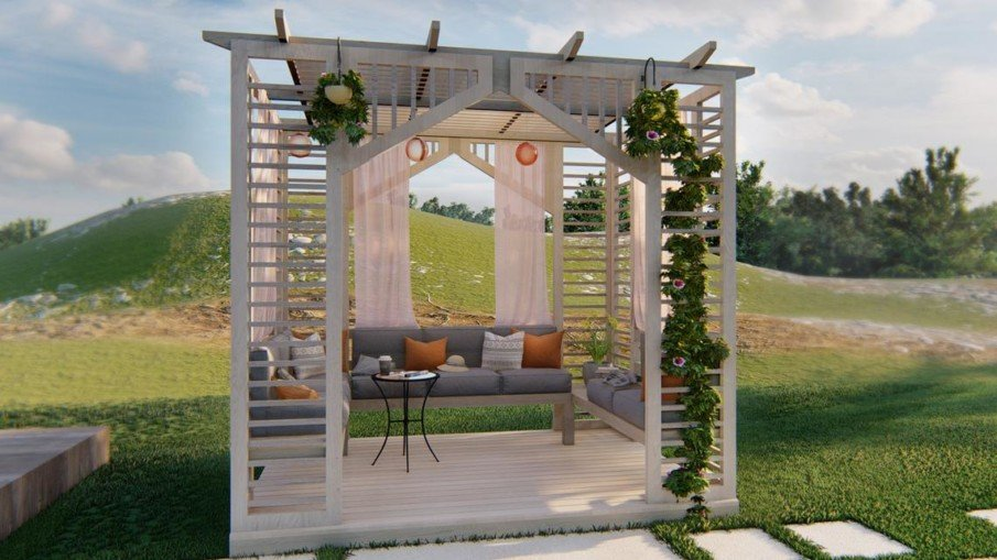 Small wood DIY pergola from a plan