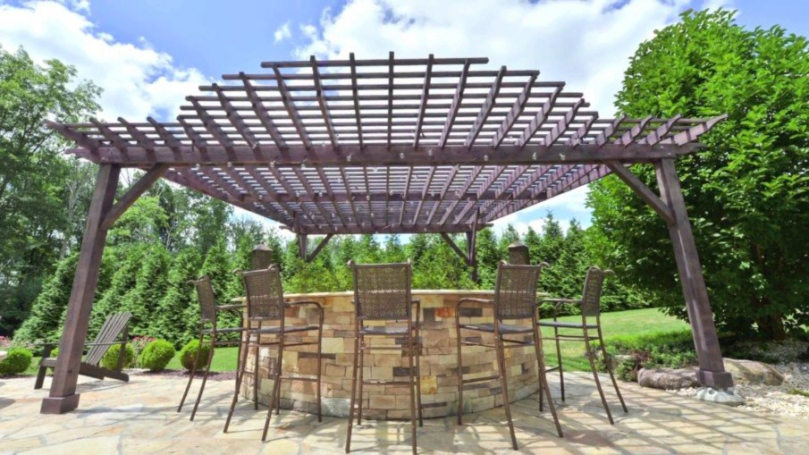 A pergola with unusual modern roof
