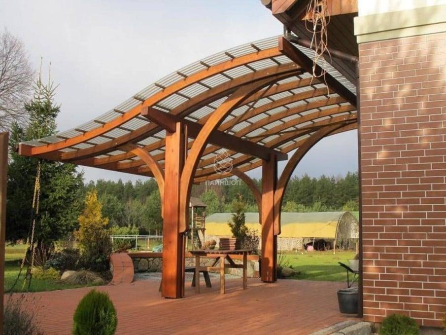 Two post pergola with a unique roof design