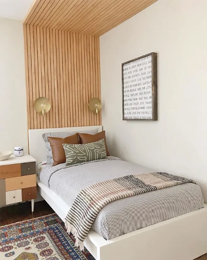 slatted wooden headboard and ceiling