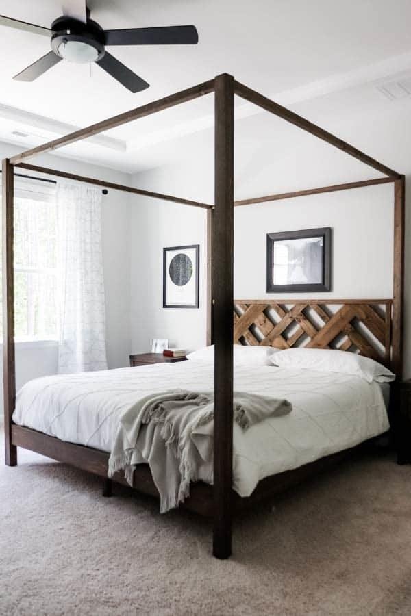 canopy bed diy slatted headboard