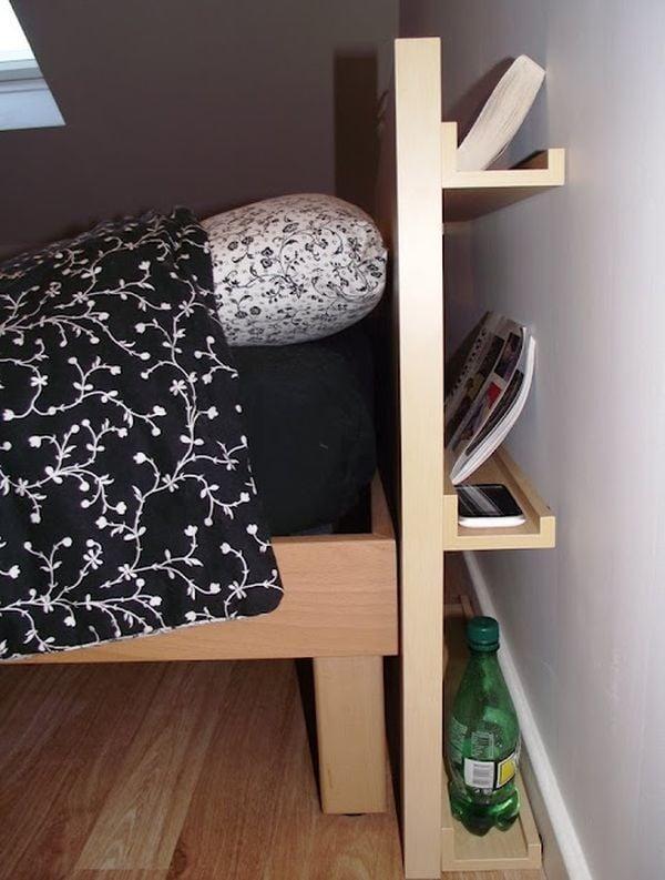 Discreet headboard storage plan diy