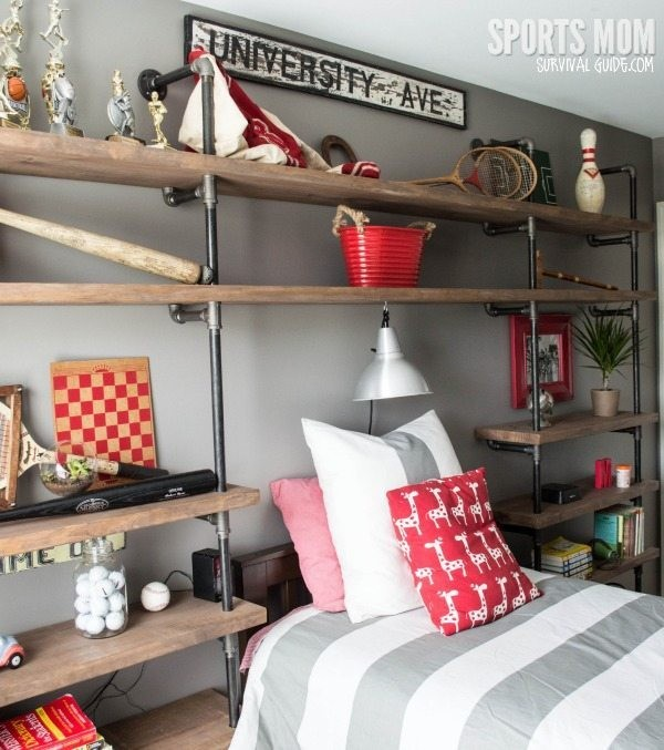 Open shelves diy headboard