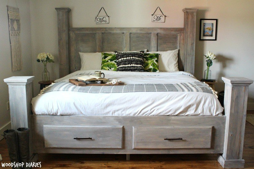 DIY bed with under-bed storage plan