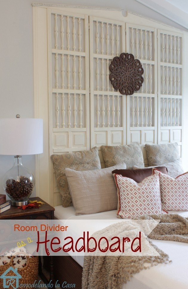 unique headboard made from a room divider
